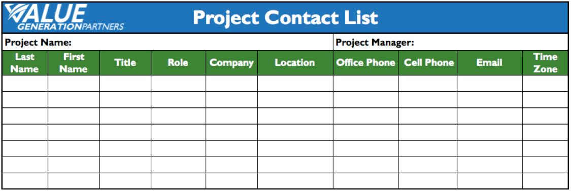 Project Contact List Template Free Contact List Template