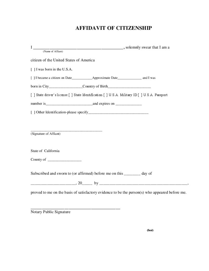 Affidavit of Citizenship - California Free Download