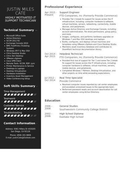 Support Engineer Resume samples - VisualCV resume samples database