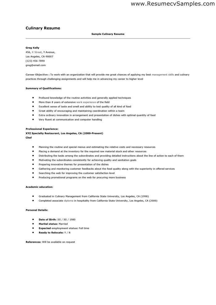 resume example culinary resume samples culinary arts student ...