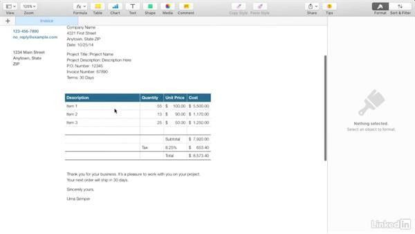 Creating an invoice with Apple's Pages
