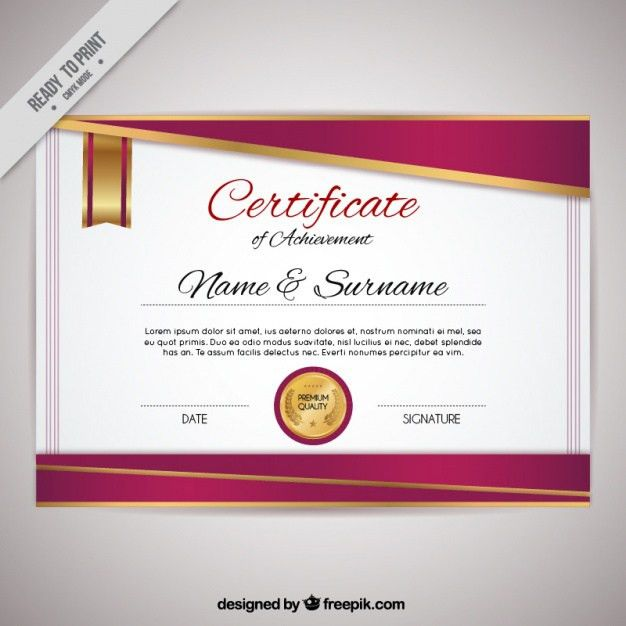 Elegant certificate of achievement Vector | Free Download