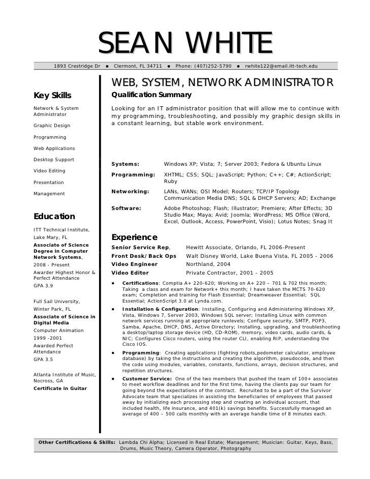 ideas of backup administrator sample resume in template sample ...