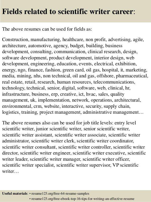 Top 8 scientific writer resume samples