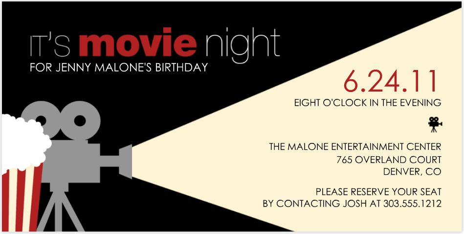 Movie Party Invitations | christmanista.com