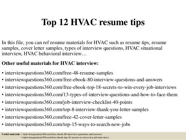 Top 12 hvac resume tips