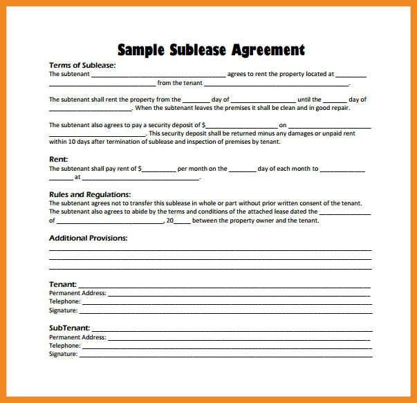 sample sublease agreement | art resume examples