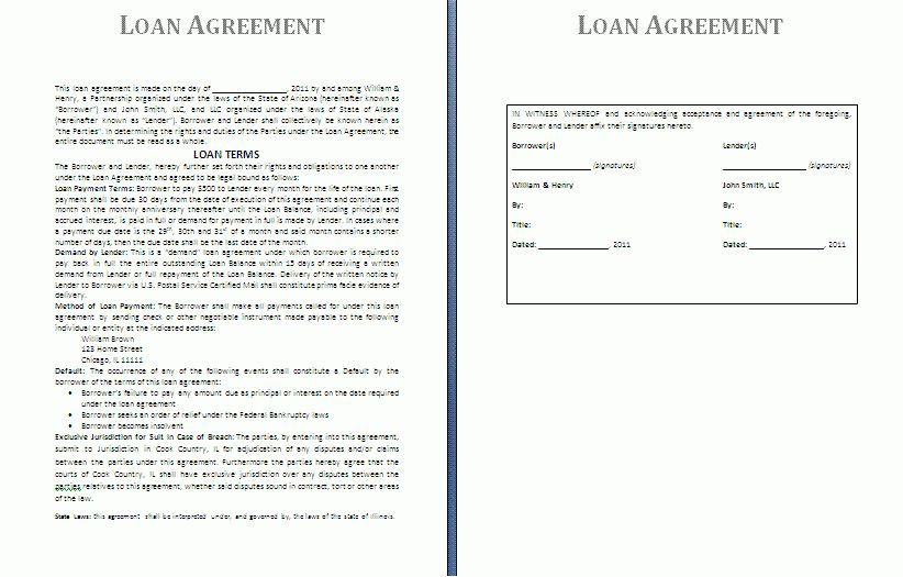 11 car loan contract template