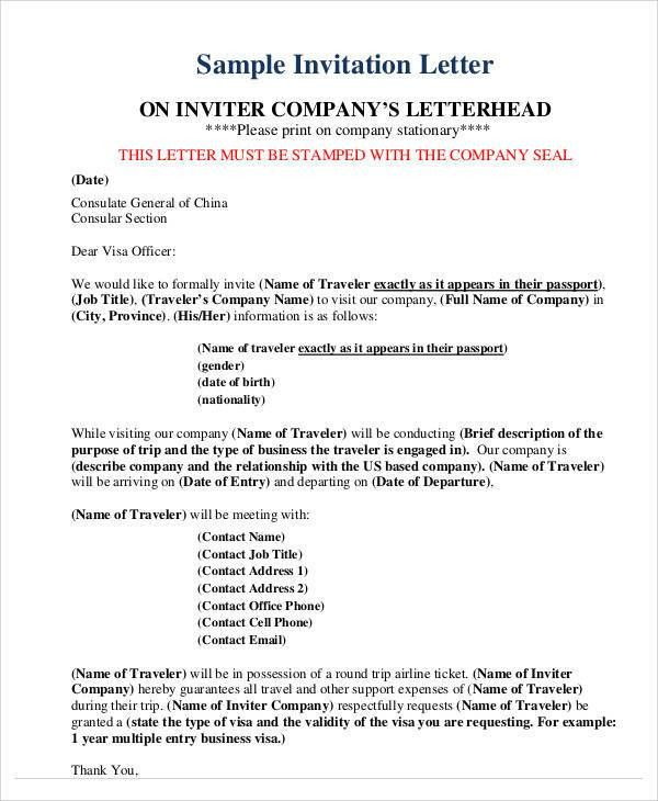 34 Sample Invitation Letter