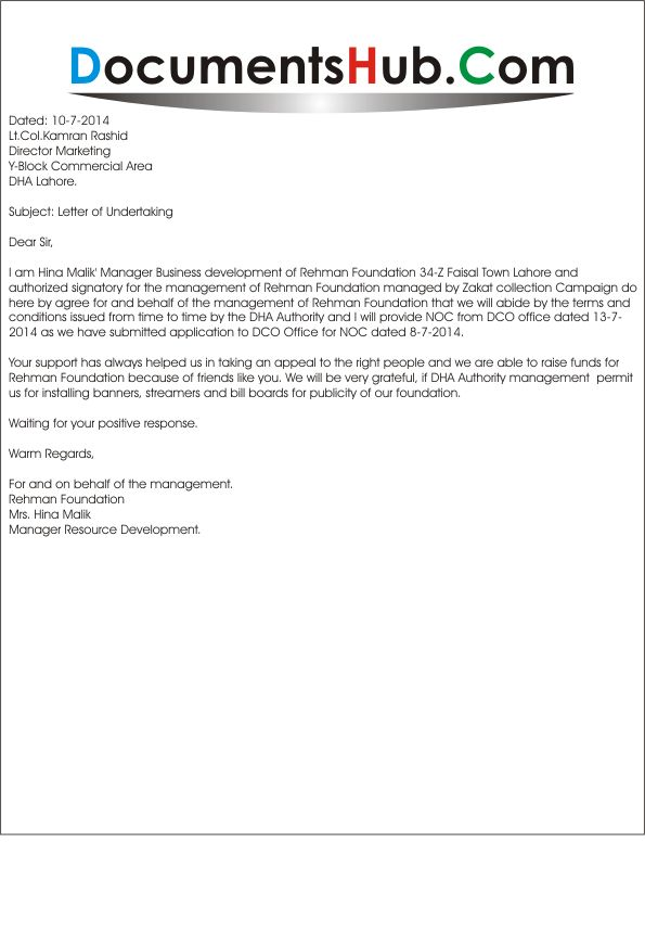 Undertaking Letter for No Objection Certificate