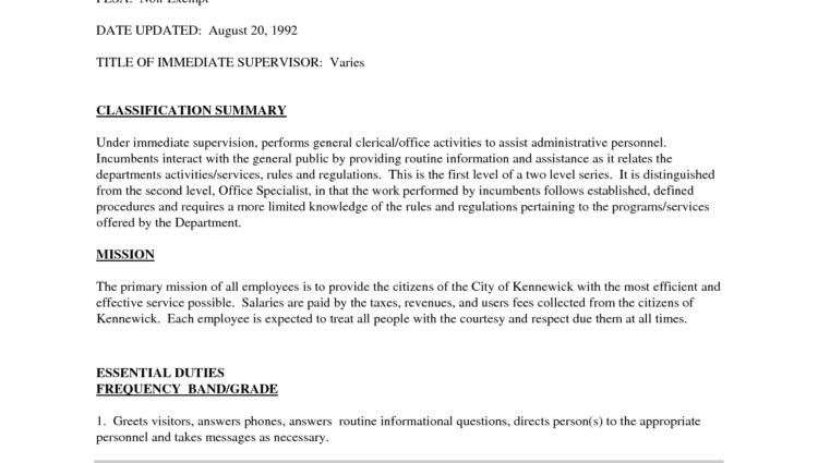 Office Assistant Job Description Sample classification summary ...