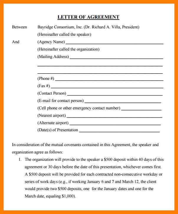 11+ agreement letter between two parties sample | joblettered