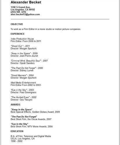 Film Editor Resume Video Production Resume Student Resume Template ...