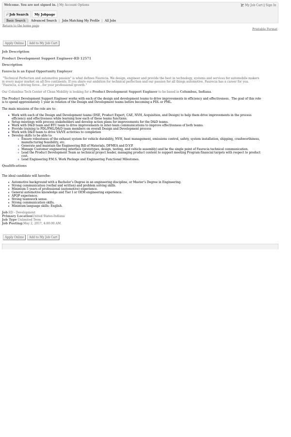 Product Development Support Engineer job at Faurecia in Indiana ...