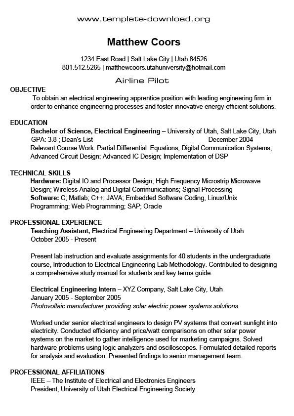 Pilot Resume Template | health-symptoms-and-cure.com