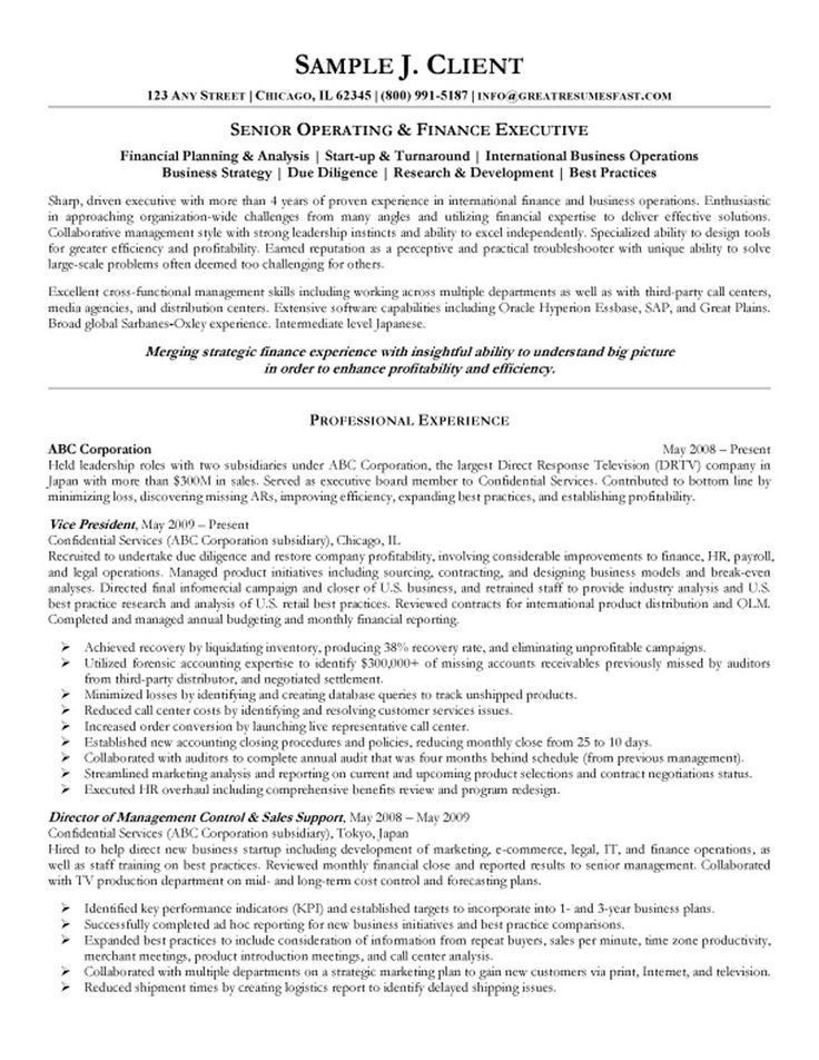 Senior Executive Resume. Excellent Resume Account Management ...