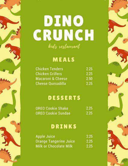 Green Beige Dinosaur Kids Menu - Templates by Canva