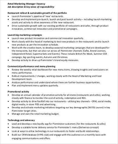 8+ Retail Manager Job Description Sample - Examples in Word, PDF