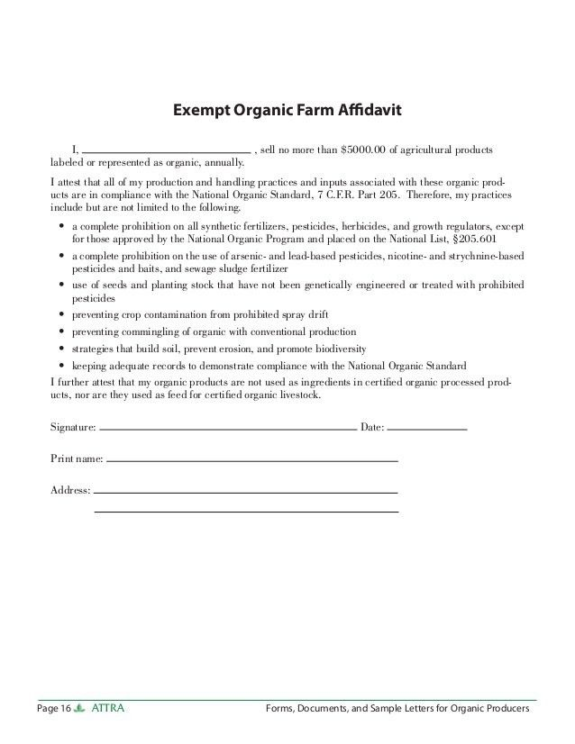 Forms, Documents, and Sample Letters for Organic Producers