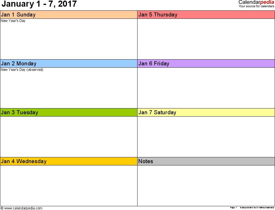 Printable Work Week Calendar 2017 | Blank Calendar Design 2017