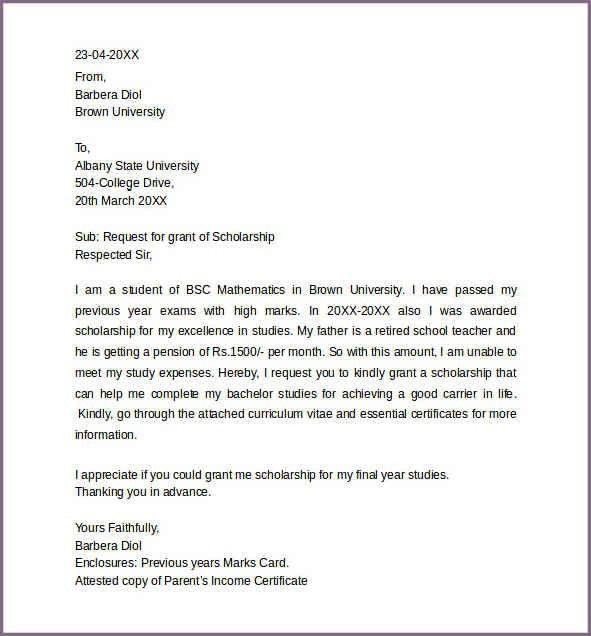 8 sample application letter for scholarship grant. asking for ...