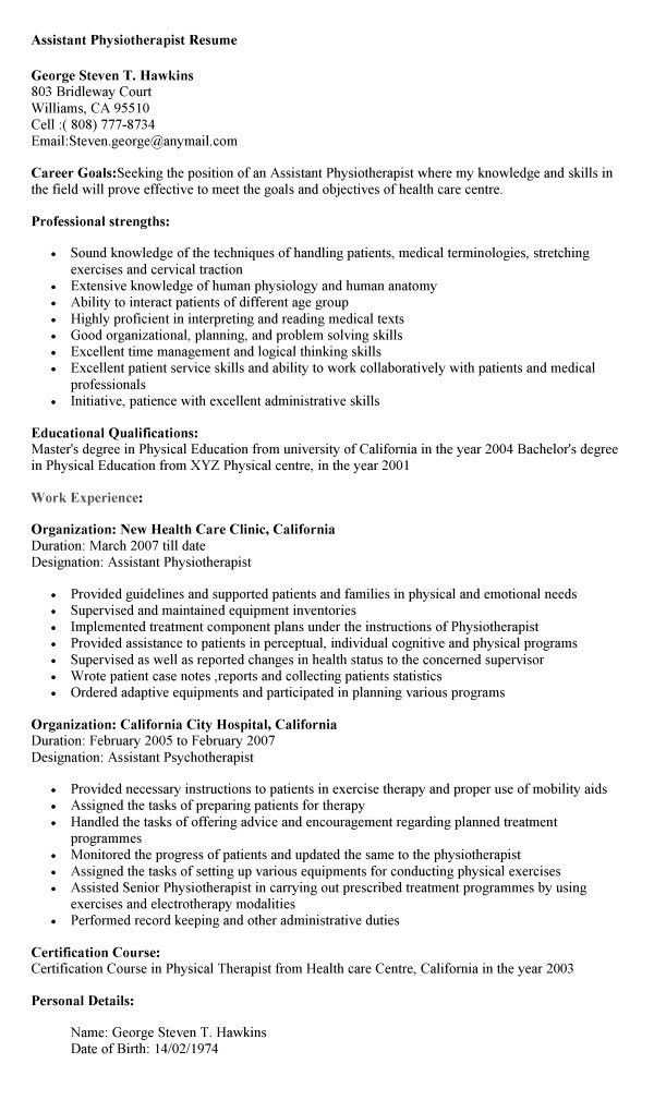 23+ Physical Therapist Resume Template and Samples : Vinodomia
