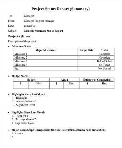 Sample Status Report - 9+ Examples in PDF