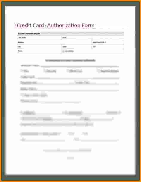 6+ credit card authorization form | Authorization Letter