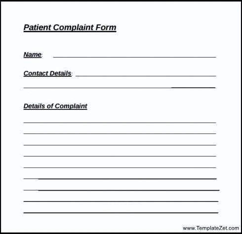 Patient Complaint Form Template | TemplateZet