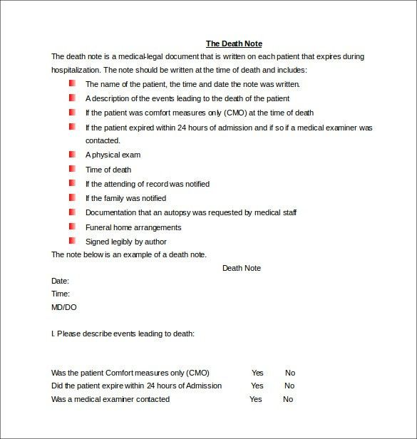 5+ Death Note Templates – Free Sample, Example, Format Download ...