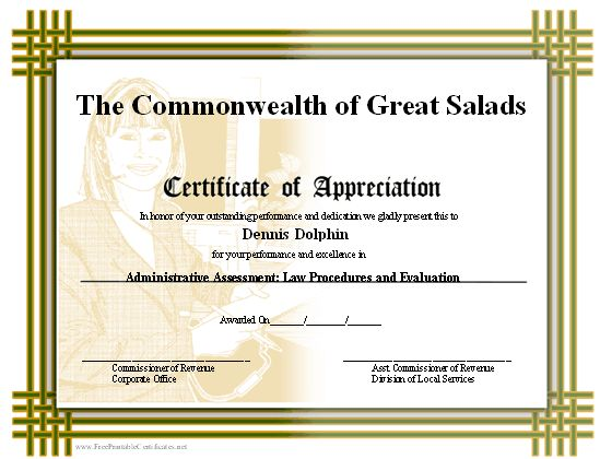 A printable certificate of appreciation with a basketweave border ...