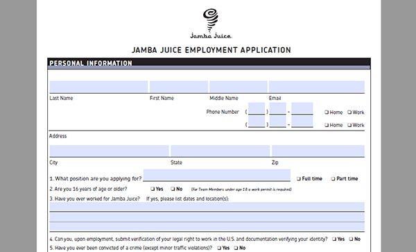 Jamba Juice Job Application - Adobe PDF - Apply Online