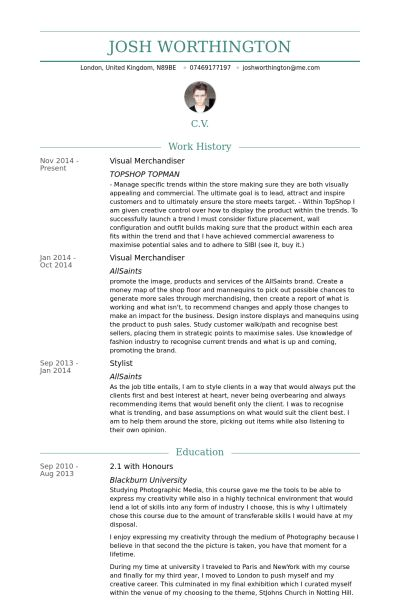Visual Merchandiser Resume samples - VisualCV resume samples database