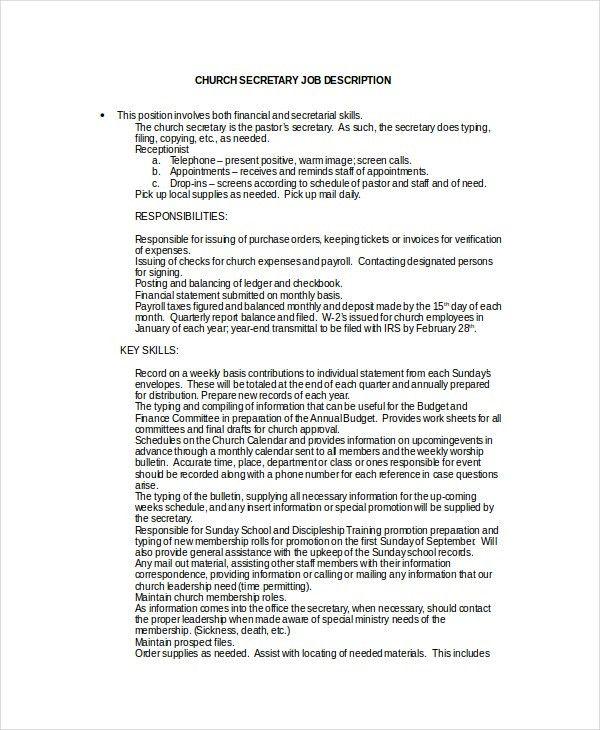 Secretary Job Description Example - 10+ Free Word, PDF Documents ...