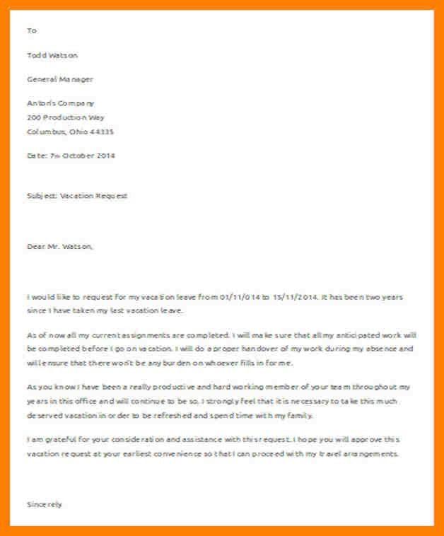 Leave Letter Formats. Request Leave Letter Format | Letter Format ...