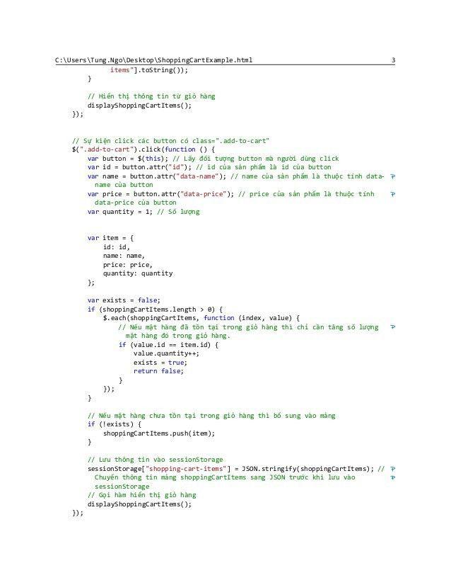 Shopping Cart Example (HTML + Javascript)