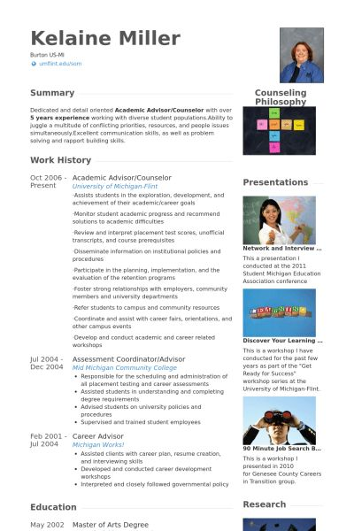 Academic Advisor Resume samples - VisualCV resume samples database