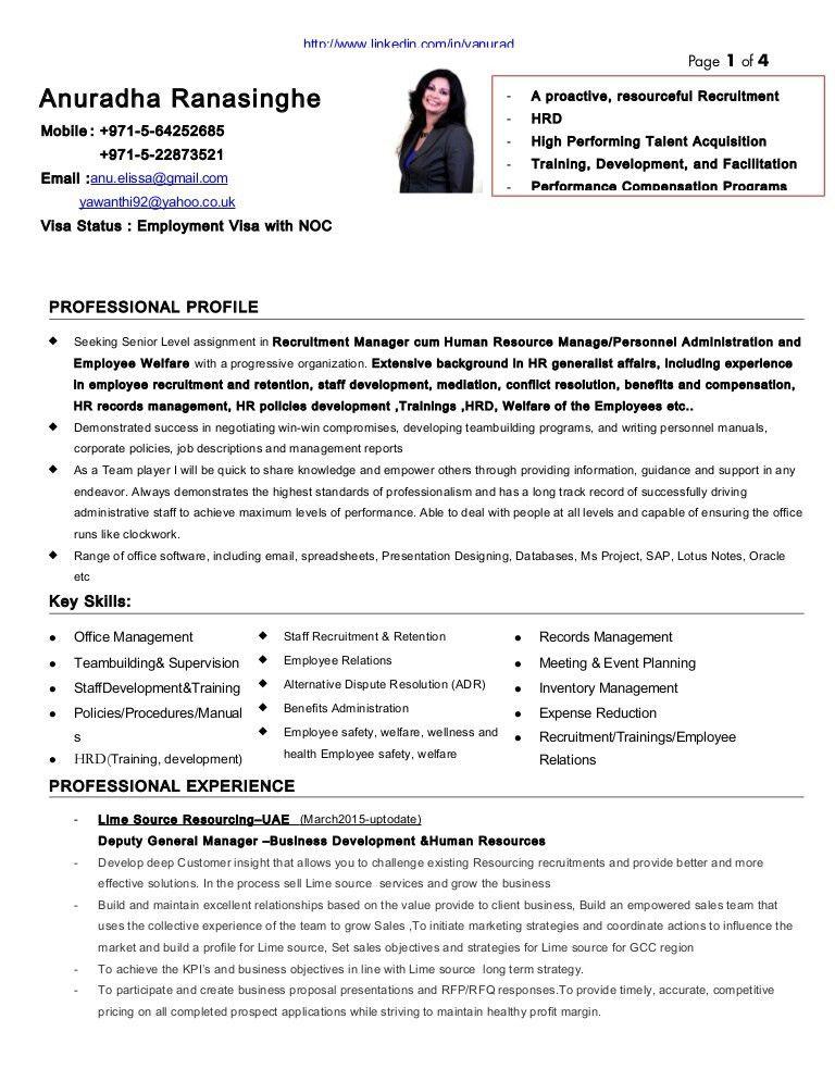 Resume of Anuradha Ranasinghe HR Recruitment manager2015