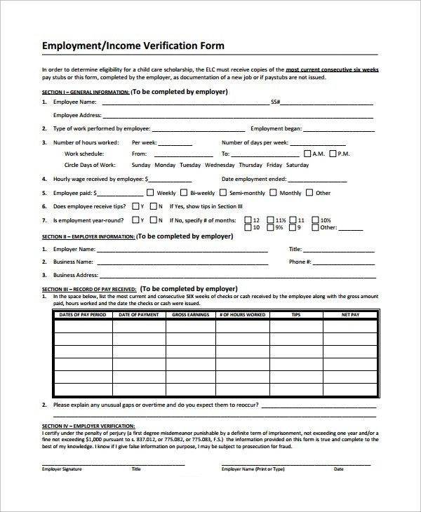 Sample Income Verification Form - 9+ Free Documents Download ...