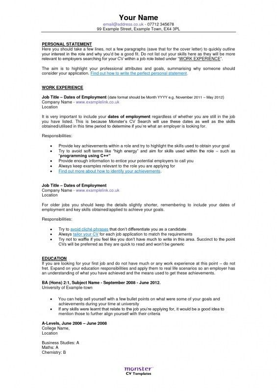Monster Resume Examples. Sample Resume Download In Word Format ...