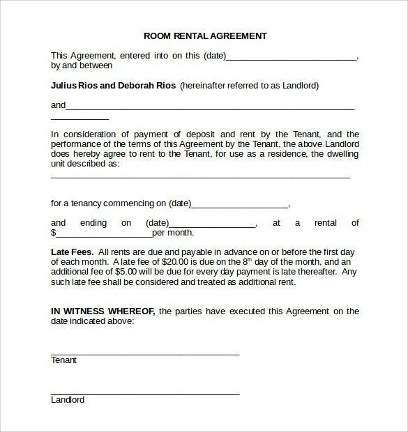 Room Rental Agreement Form. Blank-Rental-Agreement-Template Rental ...