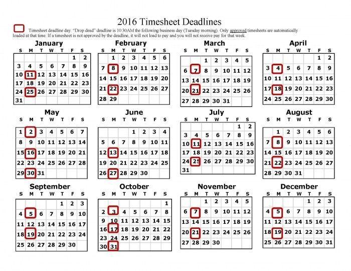 2016 Semi Monthly Payroll Calendar * Calendar Printable Template