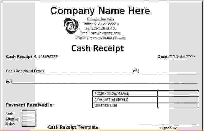 7+ cash receipt template word | Procedure Template Sample