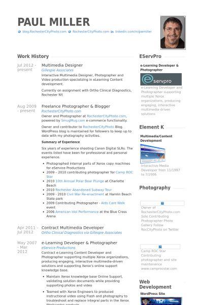 Multimedia Designer Resume samples - VisualCV resume samples database