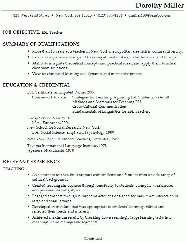 teacher resume free sample resumes teacher resume template 2016 ...