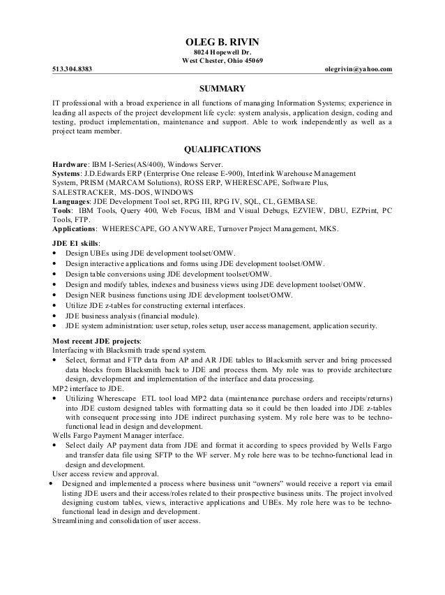Rivin Oleg JDE Resume