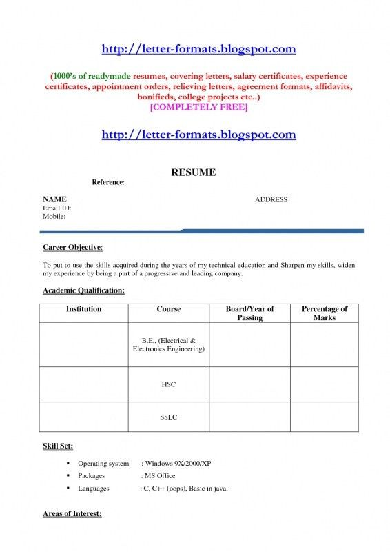 Resume Formats For Engineers