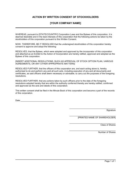 Action by Written Consent of Shareholders - Template & Sample Form ...