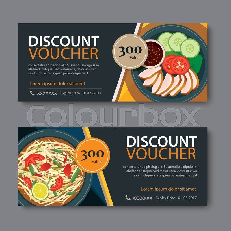 Discount voucher template with thai food flat design | Stock ...