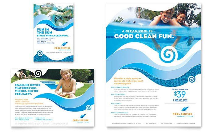 Swimming Pool Cleaning Service Flyer & Ad Template Design